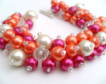 Hot Pink and Orange Pearl Beaded Bracelet, Wedding Jewelry, Bridesmaid Bracelet, Cluster Bracelet, Pearl Bracelet, Chunky Jewelry, Summer