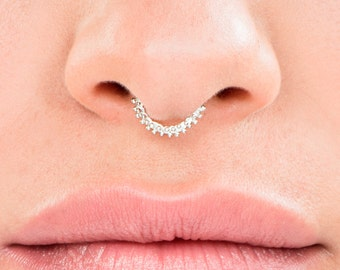 Silver Septum Ring , Hippie Septum, Septum jewelry, Indian Piercing, Body Jewelry, Nose Hoop, Nose Piercing, Gypsy Septum Ring,Indian Septum