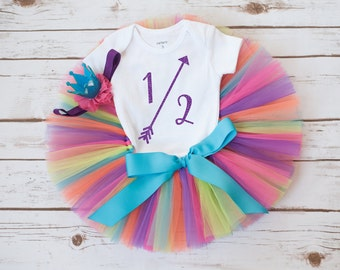 Rainbow half birthday outfit 'Teresa' rainbow tutu set half birthday outfit 6 month tutu set rainbow tutu outfit half birthday outfit girl