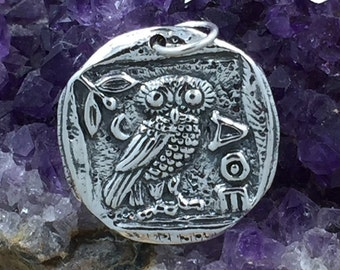 Athena's Owl Charm, Silver Coin Charm, Owl Charm, Coin Charm, Mystical Charm, Mythical Charm, Sterling Silver, PS01347