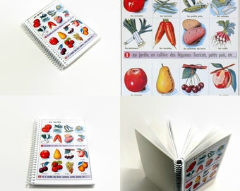 Garden Vegetables A6 Notebook - Back to School Chart, Blank Sketchbook, Small Writing Journal, Spiral Bound, Diary, Recipes, Gifts Under 20