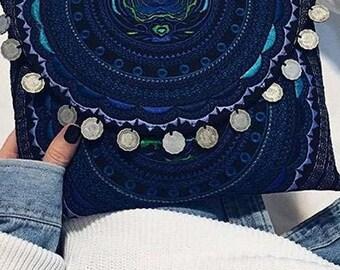 Blue & Black Tribal Clutch, Clutch purse, Clutch Bag, Vegan, Wedding Clutch, Bridesmaid Clutch, Festival, Tribal Bag, Embroidered Clutch