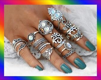 Boho 16pc Silver Stacking Ring set, Statement Ring, Hippie Ring, BOHO Ring,