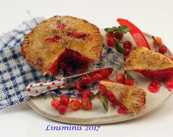 12th scale handmade miniature cherry pie.