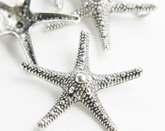4pcs Oxidized Silver Tone Base Metal Charms-Starfish 37x37mm (12686Y-C-62)