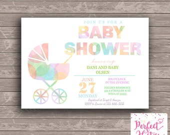 Watercolor Stroller Baby Shower Invitation