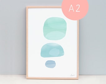 Large Abstract Art, Soothing Wall Art, Calm Coloured Art, Beach Wall Art Australia, Wall Prints for Office, Calm Art, Green, Blue Stone