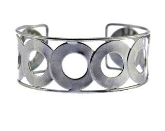 Large Silver Cuff Bracelet, Silver Circle Cuff Bracelet, Wide Silver Bracelet