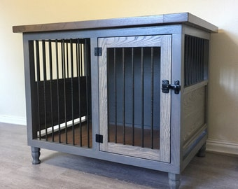 Single Dog kennel, handmade, solid wood, Stain Finish