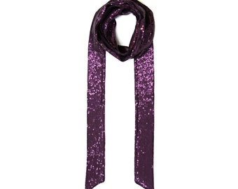 Purple long skinny scarf with sequins FREE SHIPPING WORLDWIDE