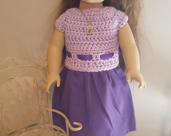 """Dress with Crochet Top & Fabric Bottom for 18"""" doll"""