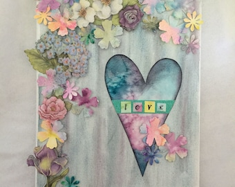 Hearts and Flowers and Love - Mixed Media