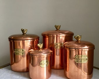Vintage Copper Set Of 4 Canisters. Brass Labels. Bread, Flour, Sugar, Tea, Coffee.