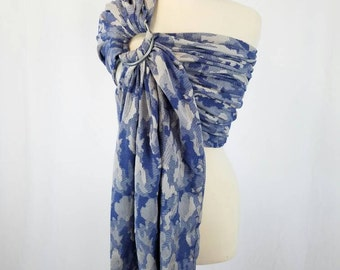 Blue Camo Wrap Conversion Ring Sling Newborn, Infant, Baby, Toddler Carrier - ComfyCutie Hybrid Gathered Pleated Shoulder