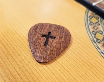 Cross Guitar Pick, Personalized Custom Engraved Cross Plectrum, Wood Laser Burned religious Guitar Pick, Spiritual Cross Guitar Pick