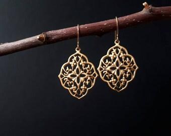 Gold Filigree Earrings, Gold Chandelier Earrings, Filigree Earrings, Gold Boho Earrings, Statement Earrings, Filigree Jewelry
