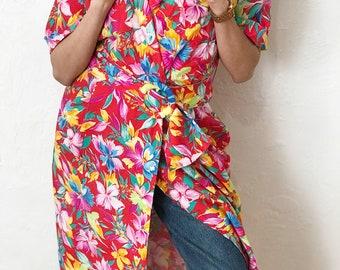 Vintage 80s Floral Dress Tropical Print Wrap Dress