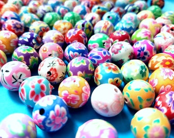 Set of 25, Round Beads, 12mm, Handmade Polymer, Clay Beads, Floral, Mixed Colors, Earring Beads, Necklace Beads, DIY Jewelry Making, #183A