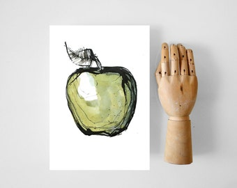 Green apple print, apple illustration, apple prints, food art,  fruit print, colorful food print, modern kitchen print kitchen wall art, art