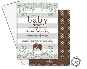 elephant baby shower invitation for gender neutral baby shower invites, brown, printable or printed - WLP00787