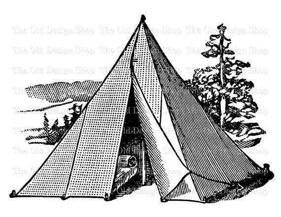 Vintage Tent Clip Art Printable Camping Illustration Digital Stamp Transfer Image From TheOldDesignShop On Etsy Studio