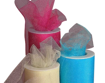"""6"""" x 25 yards Shimmer Tulle Rolls- your choice of color"""