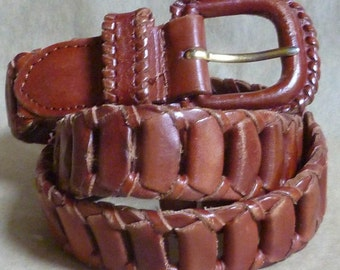 Leather Link BELT, Brown, size Small