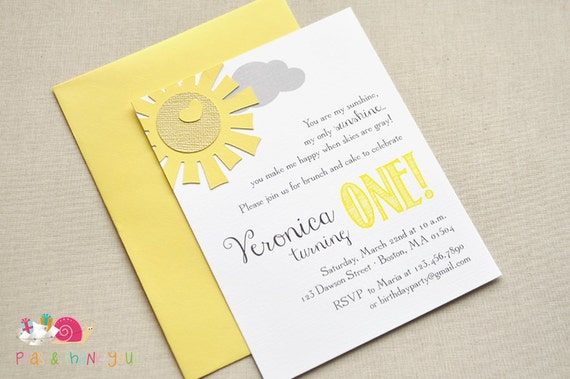 You Are My Sunshine Invitations A2 FLAT Yellow and Gray