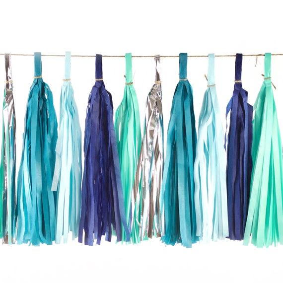 Under The Sea Tassels, Tissue Tassels, Tassel Banner, Birthday Party Decor, DIY Tassels, Girl, Wedding Baby Shower Nautical Ocean Beachy