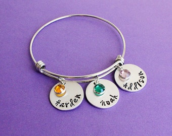 Personalized Mom Bangle - Mother's Day - Gift for Mom - Engraved Bangle with Names and Birthstones - Grandma Bangle Bracelet - Grandmother