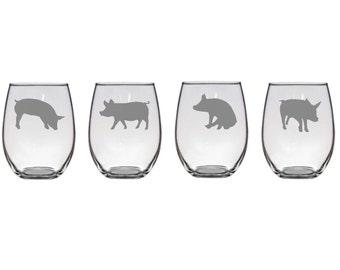 Set of 2 or 4 Poses,Etched Pig Wine Glasses,Pig Wine Glasses,Pig Barware,Stemless Pig Glassware,Pig Glass,Farm Animal Wine Glasses,Pig Gifts