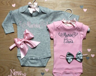 personalized baby girl coming home outfits 2 gray and pink onepiece and bows baby shower gift monogrammed newborn embroidered