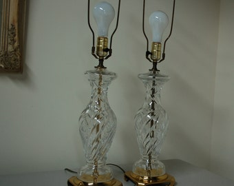 Pair Cut Glass Hollywood Regency Mid Century Table Lamps