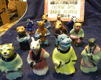fantastic shape 1950s or so set of 12 pottery CHINESE arts ZODIAC ANIMALS figures 12 pieces original box