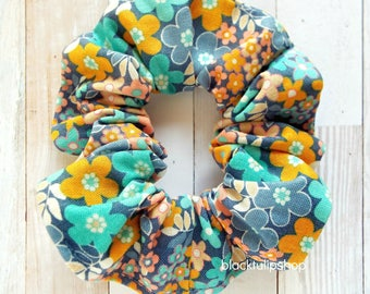 Hair Scrunchies Ponytail Holders Retro Florals Cute Scrunchie Colorful Flower Hair Tie Retro 80s 90s