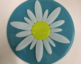 Turquoise Blue, White and Yellow Daisy Glass Display Plate