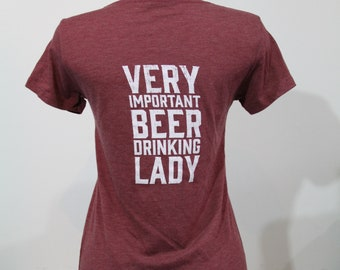 Very Important Beer Drinking Lady Distressed V-Neck Tee