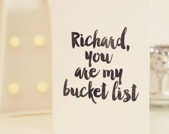 Bucket List Card - Romantic Card - Valentines Card - Anniversary Card - Couples Card - Personalised Card - Personalized Card