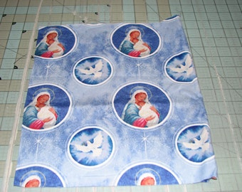 1 yd Mother Mary and baby Jesus with blue Background Quilt 100%  Cotton Fabric Maine sewing crafting supply