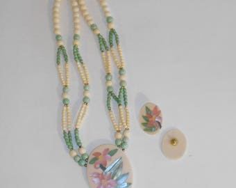 70's inlaid shell necklace - beaded green shell necklace set - necklace and earring set - vintage necklace set