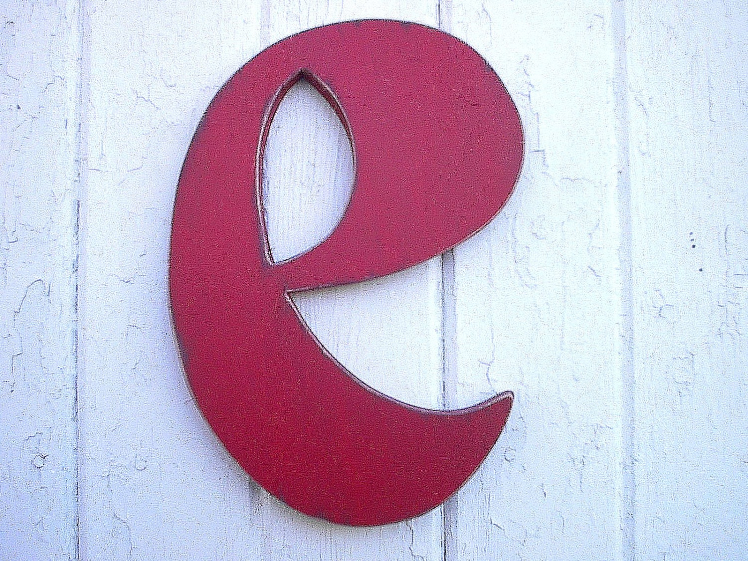 Letter E Wall Decor Distressed Wooden Lowercase Letter E Red 12 Inch