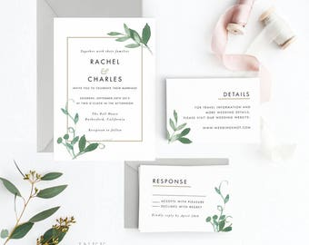 Modern Botanical Wedding Invitation Suite, Wedding Invitation Printable, Invitation Set, Invitation Rustic, Letter or A4 (Item code: P127m)