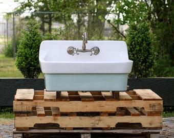 Vintage Style High Back Farm Sink Original Porcelain Finish Apron Kitchen  Utility Sink Green Blue Kitchen
