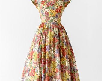 1950s Designer Floral Dress / 50s Adele Simpson Cotton Tea Length Gown / 50's Size XS Formal Garden Party Dress / 1950's Full Circle Skirt