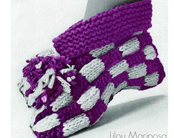 Knitting Pattern Vintage 70s Checkers Knitting Booties Pattern Knitting Slippers Pattern Instant Download