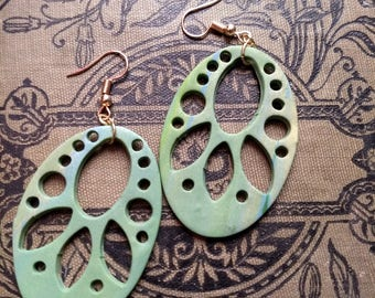 Spring Green Inverted Lotus Polymer Clay Silhouette  Earrings