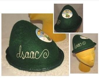 "Vintage Souvenir Green Felt Peter Pan Hat Cap, Monogrammed ""Isaac"", Disneyland, Disney"