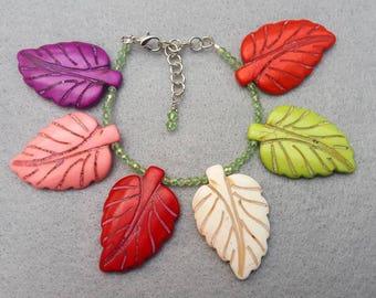 Stone Leaf Cuff Bracelet