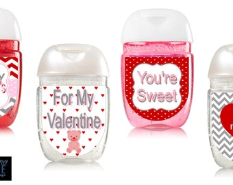 Valentine's Day Hand Sanitizer labels- Class Valentines labels Digital or Peel and Stick-- FREE SHIPPING!