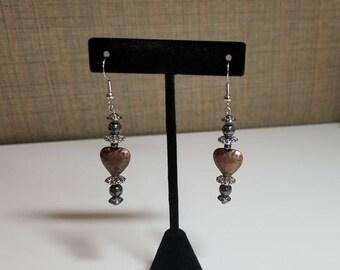 Brass heart and hemitite drop earrings